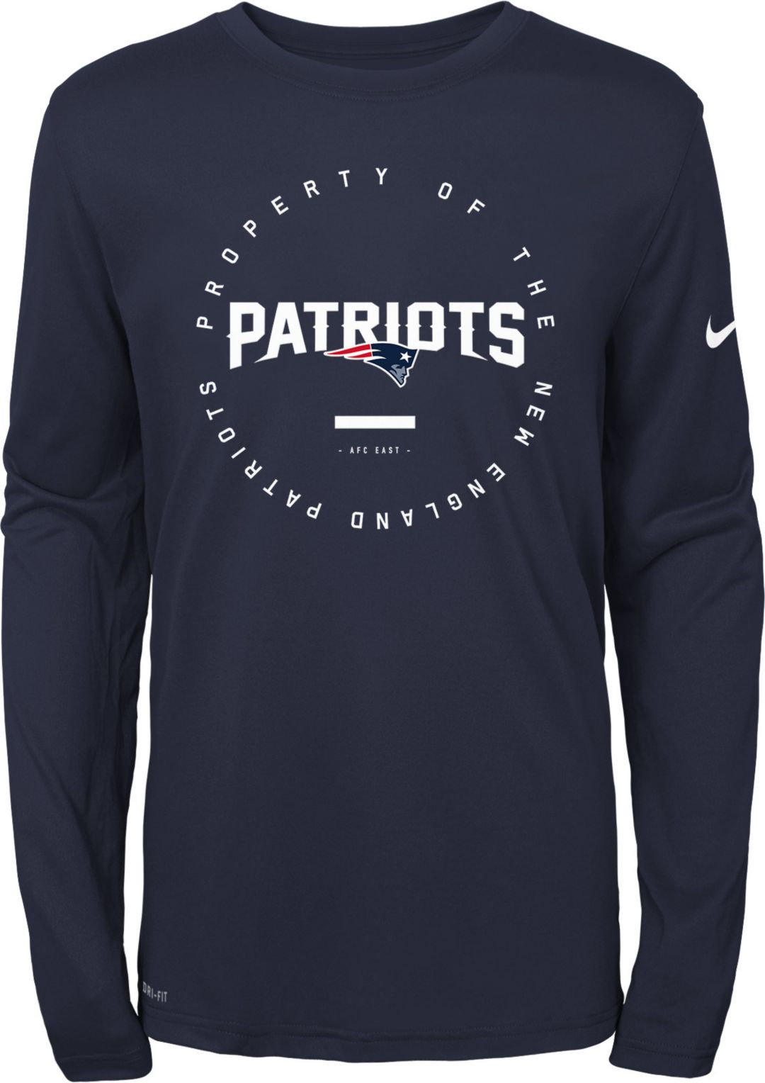 a65eabb9 Nike Youth New England Patriots Property Of Long Sleeve Navy Shirt ...
