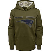 Nike Youth Salute to Service New England Patriots Therma-FIT Olive Performance Hoodie