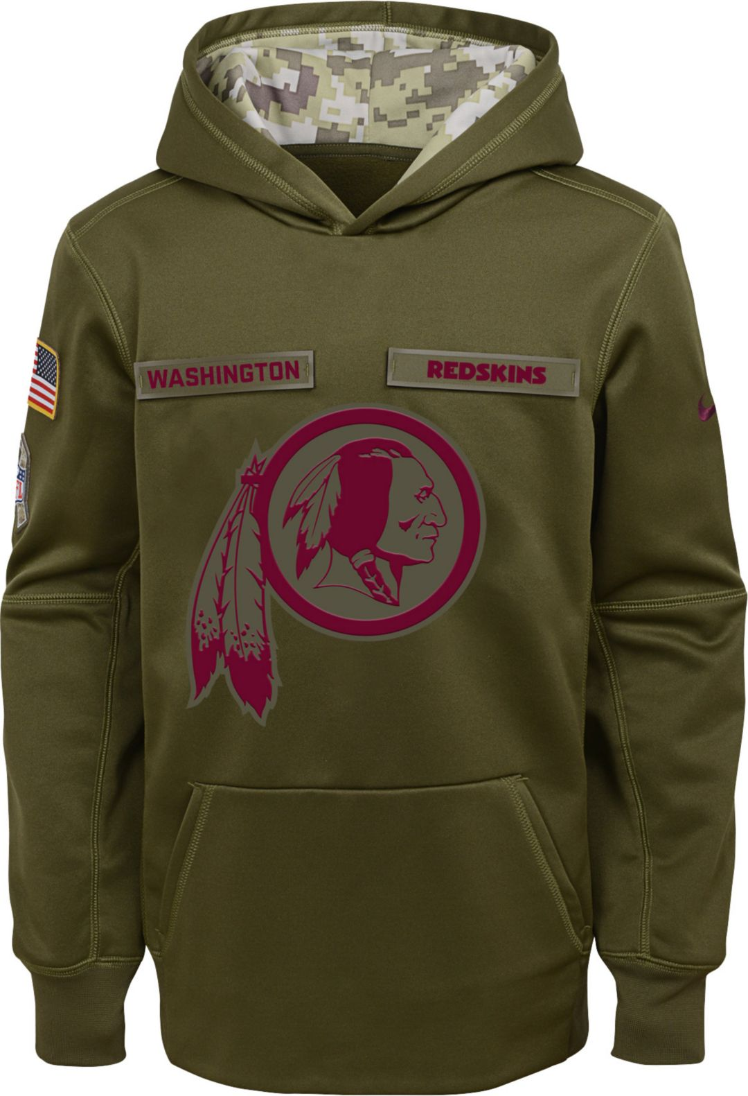 ac6e7147b82 Nike Youth Salute to Service Washington Redskins Therma-FIT Olive Performance  Hoodie 1