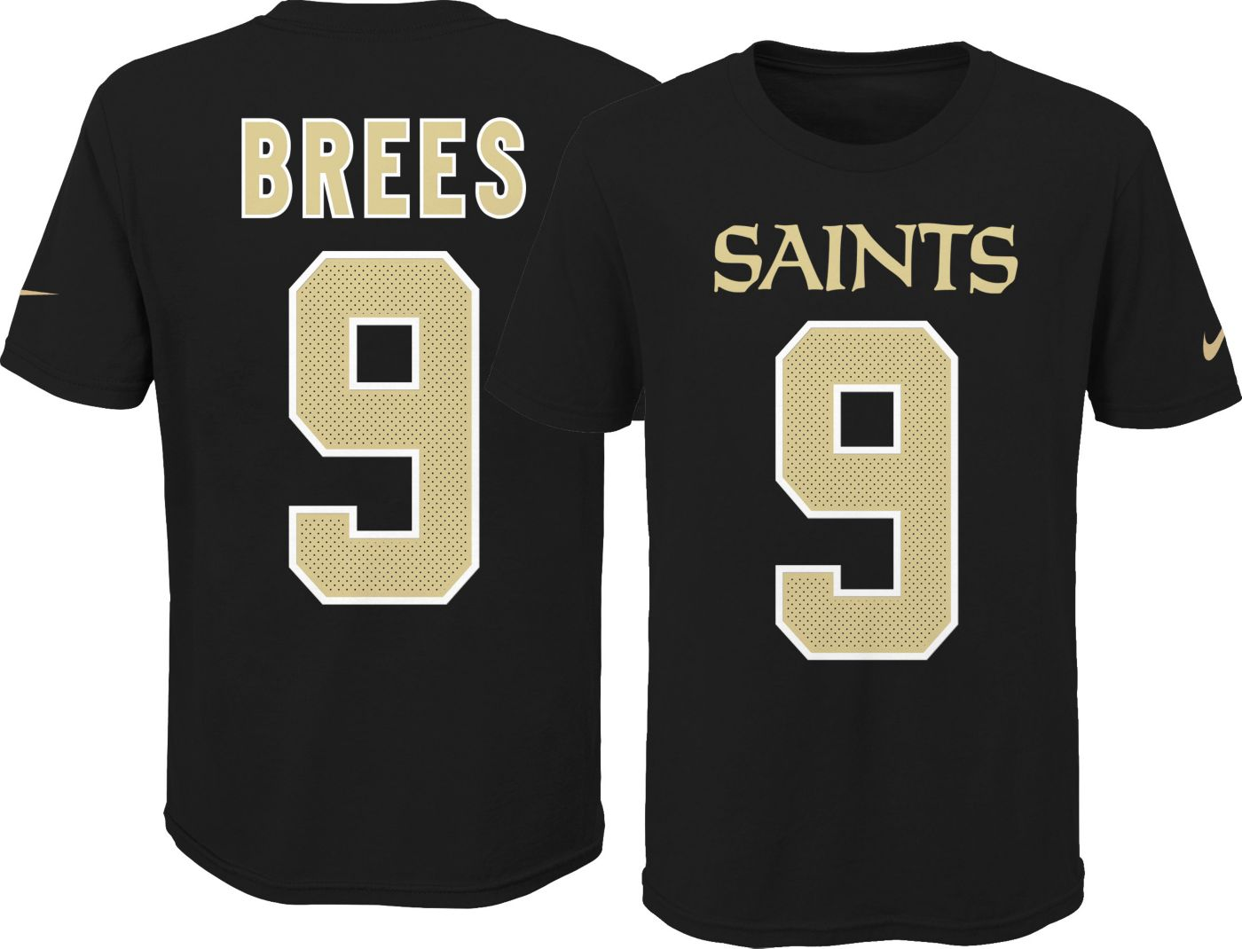 Nike Youth New Orleans Saints Drew Brees #9 Pride Black Player T-Shirt
