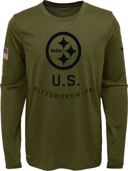 Nike Youth Salute to Service Pittsburgh Steelers Legend Long Sleeve Olive  Shirt. noImageFound f7471aa22
