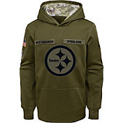Nike Youth Salute to Service Pittsburgh Steelers Therma-FIT Olive Performance Hoodie
