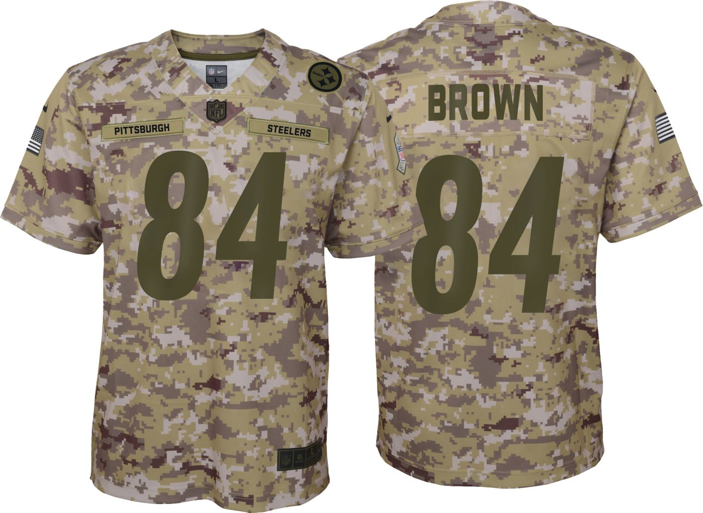 Nike Youth Salute to Service Pittsburgh Steelers Antonio Brown #84 Camouflage Game Jersey