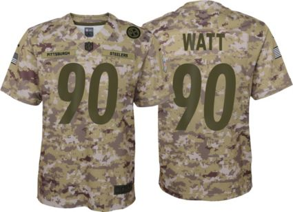 9105ad7777e Nike Youth Salute to Service Pittsburgh Steelers T.J. Watt  90 Camouflage  Home Game Jersey