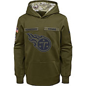 Nike Youth Salute to Service Tennessee Titans Therma-FIT Olive Performance Hoodie