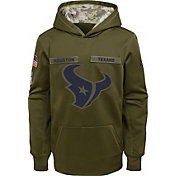 Nike Youth Salute to Service Houston Texans Therma-FIT Olive Performance Hoodie