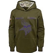 Nike Youth Salute to Service Minnesota Vikings Therma-FIT Olive Performance Hoodie