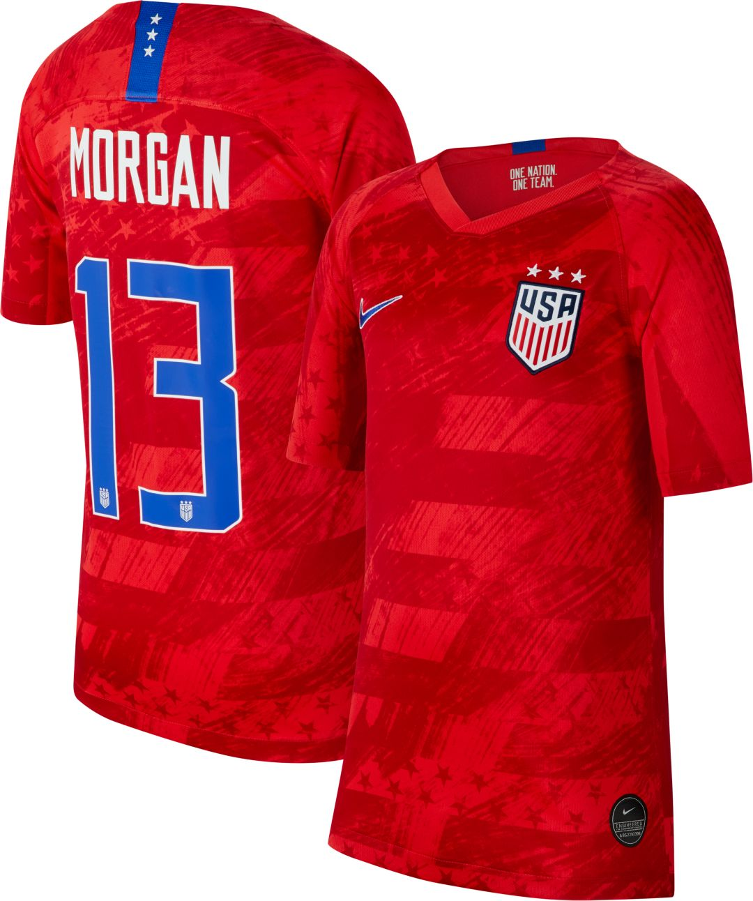 8578e8400ded Nike Youth 2019 FIFA Women's World Cup USA Soccer Alex Morgan #13 Breathe  Stadium Away