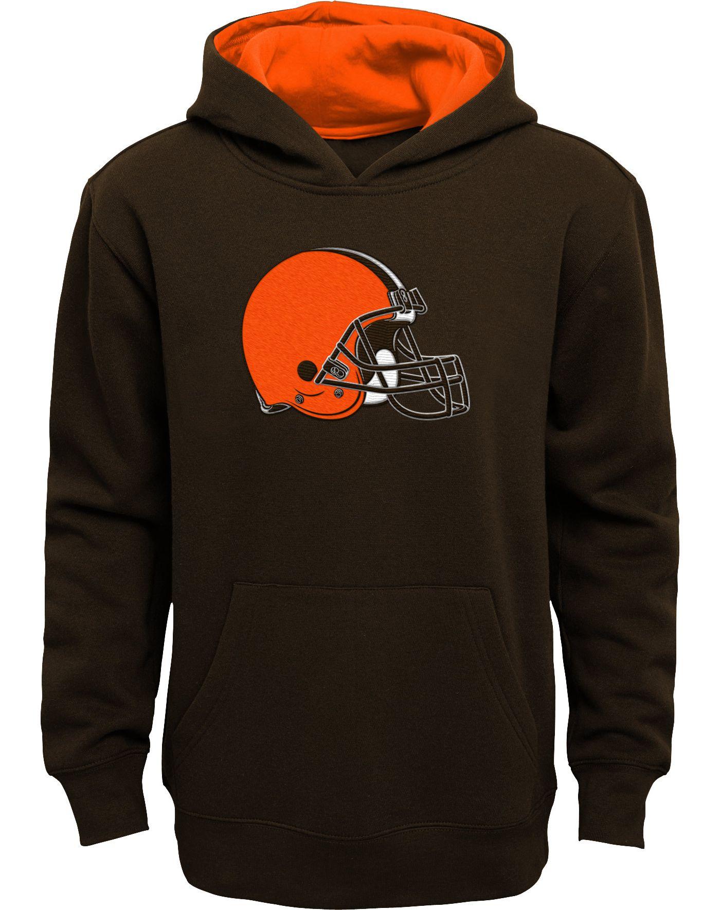 NFL Team Apparel Boys' Cleveland Browns Prime Brown Pullover Hoodie