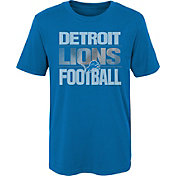 NFL Team Apparel Boys' Detroit Lions Light Streaks Blue T-Shirt