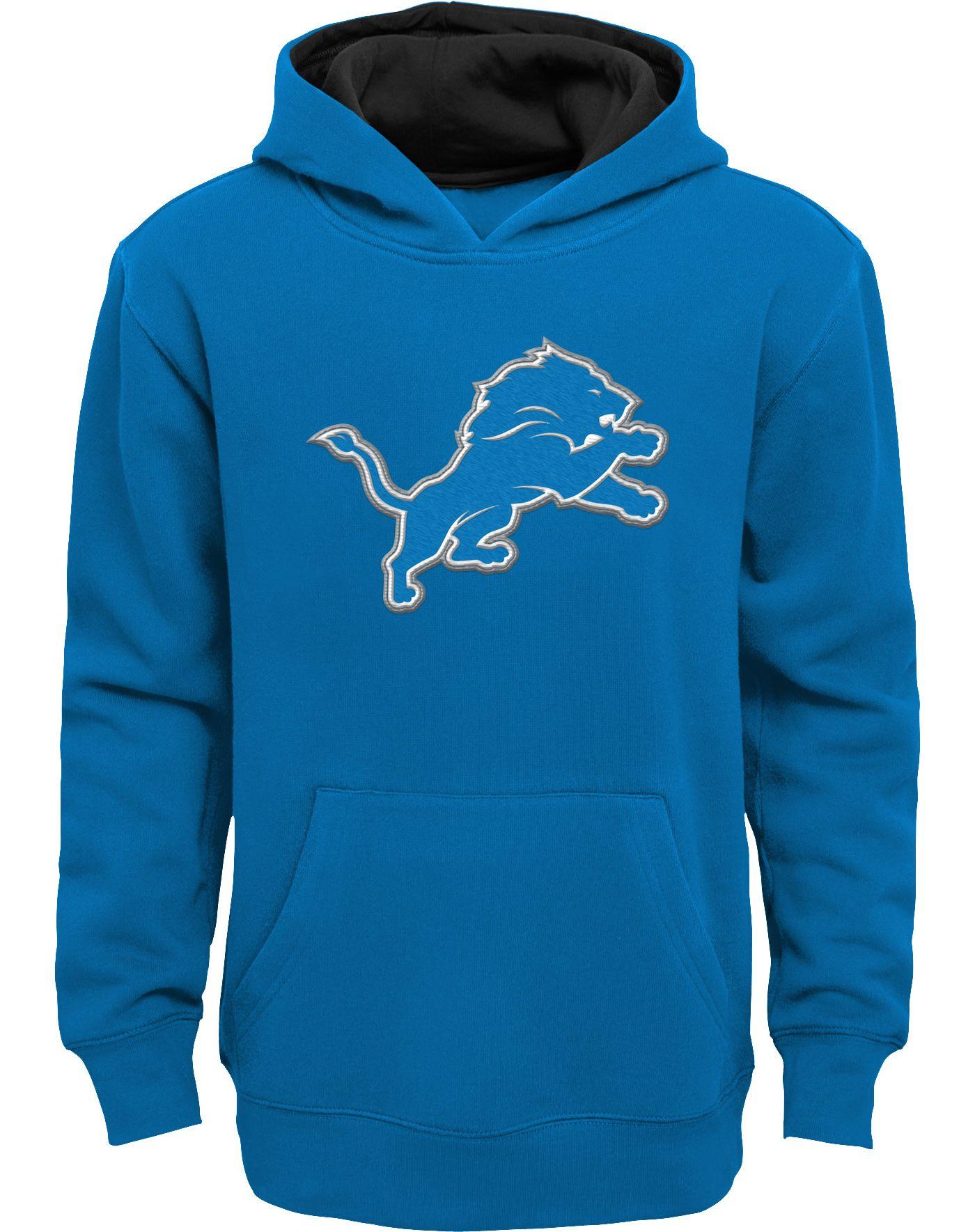 NFL Team Apparel Boys' Detroit Lions Prime Blue Pullover Hoodie