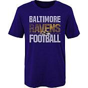 NFL Team Apparel Boys' Baltimore Ravens Light Streaks Purple T-Shirt