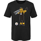 NFL Team Apparel Boys' Pittsburgh Steelers Mascot Black T-Shirt