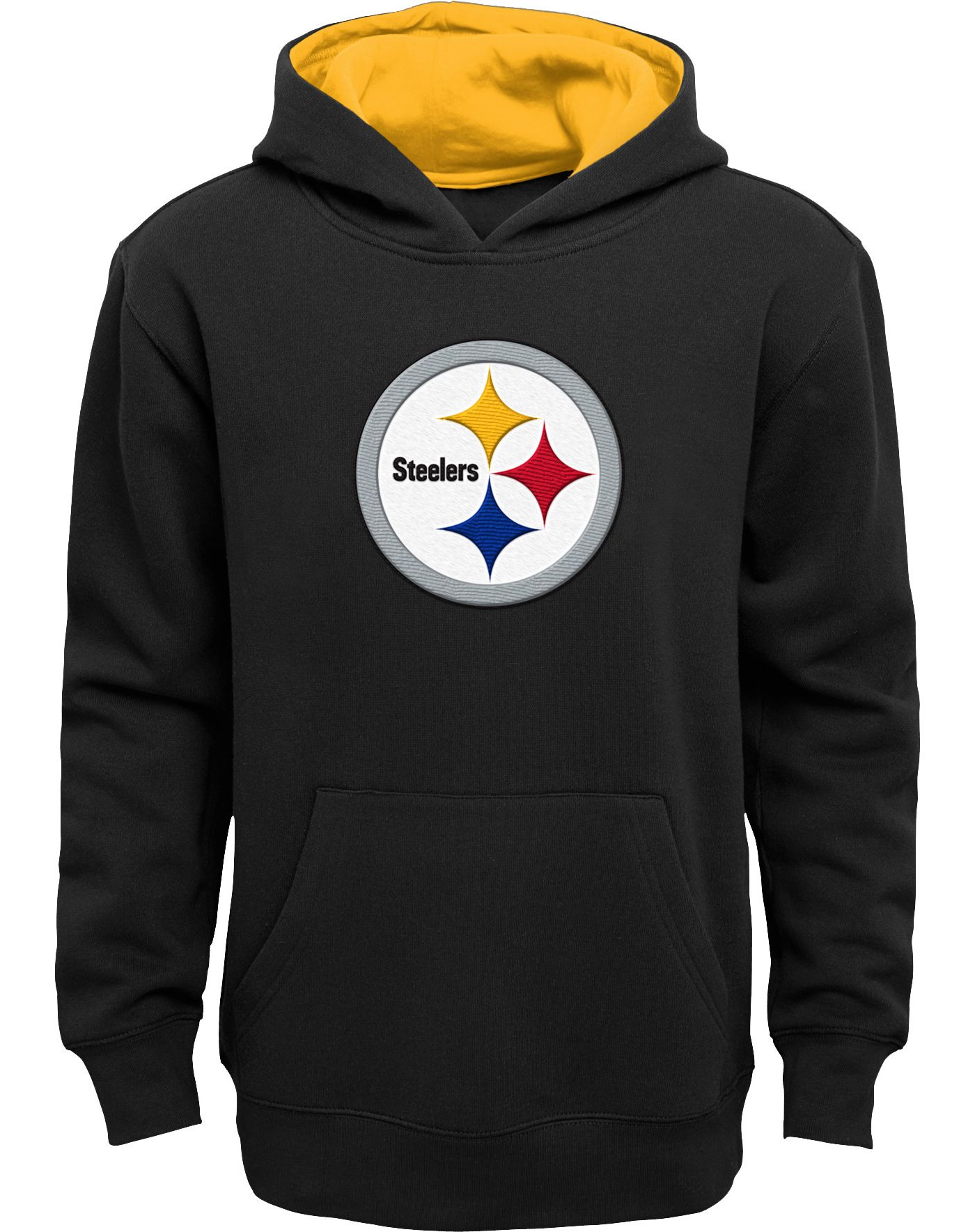 NFL Team Apparel Boys' Pittsburgh Steelers Prime Black Pullover Hoodie