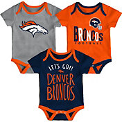 NFL Team Apparel Infant Denver Broncos Tailgater 3-Piece Onesie Set