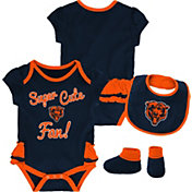 NFL Team Apparel Infant Girls' Chicago Bears Trifecta Onesie Set