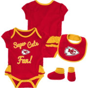 NFL Team Apparel Infant Girls' Kansas City Chiefs Trifecta Onesie Set