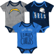 NFL Team Apparel Infant Los Angeles Chargers Tailgater 3-Piece Onesie Set