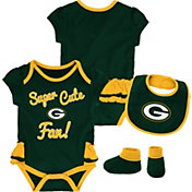 NFL Team Apparel Infant Girls' Green Bay Packers Trifecta Onesie Set