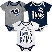 NFL Team Apparel Infant Los Angeles Rams Tailgater 3-Piece Onesie Set