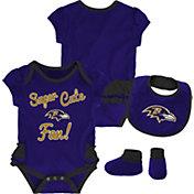 NFL Team Apparel Infant Girls' Baltimore Ravens Trifecta Onesie Set