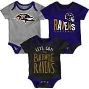 NFL Team Apparel Infant Baltimore Ravens Tailgater 3-Piece Onesie Set