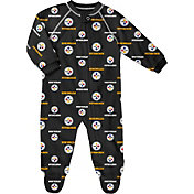 NFL Team Apparel Infant Pittsburgh Steelers Zip-Up Black Coverall