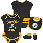 NFL Team Apparel Infant Girls' Pittsburgh Steelers Trifecta Onesie Set