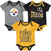 NFL Team Apparel Infant Pittsburgh Steelers Tailgater 3-Piece Onesie Set