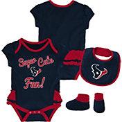 NFL Team Apparel Infant Girls' Houston Texans Trifecta Onesie Set