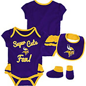 NFL Team Apparel Infant Girls' Minnesota Vikings Trifecta Onesie Set