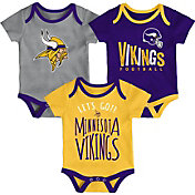 NFL Team Apparel Infant Minnesota Vikings Tailgater 3-Piece Onesie Set