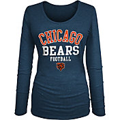 NFL Team Apparel Women's Chicago Bears Tri-Blend Football Navy Long Sleeve Shirt