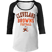 NFL Team Apparel Women's Cleveland Browns Football White Raglan Shirt