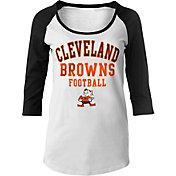 NFL Team Apparel Women's Cleveland Browns Football White Raglan Shirt