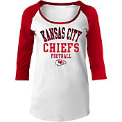 NFL Team Apparel Women's Kansas City Chiefs Football White Raglan Shirt