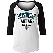 NFL Team Apparel Women's Jacksonville Jaguars Football White Raglan Shirt