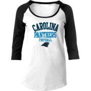 best service ed5fd 1892b NFL Team Apparel Women's Carolina Panthers Football White Raglan Shirt