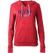 NFL Team Apparel Women's Super Bowl LIII Glitter Red Long Sleeve Hooded Shirt