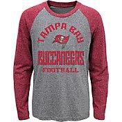 NFL Team Apparel Youth Tampa Bay Buccaneers Gridiron Grey Long Sleeve Shirt