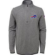 NFL Team Apparel Youth Buffalo Bills Motion Grey Quarter-Zip Fleece Pullover