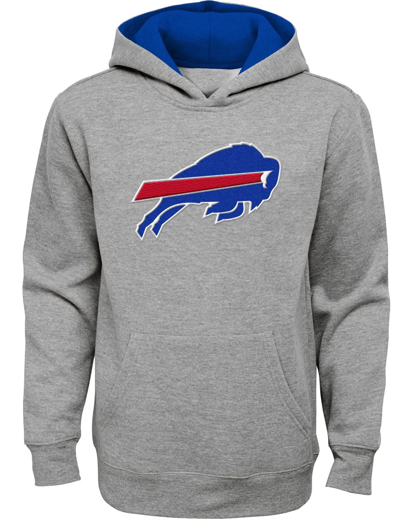 NFL Team Apparel Youth Buffalo Bills Prime Grey Pullover Hoodie