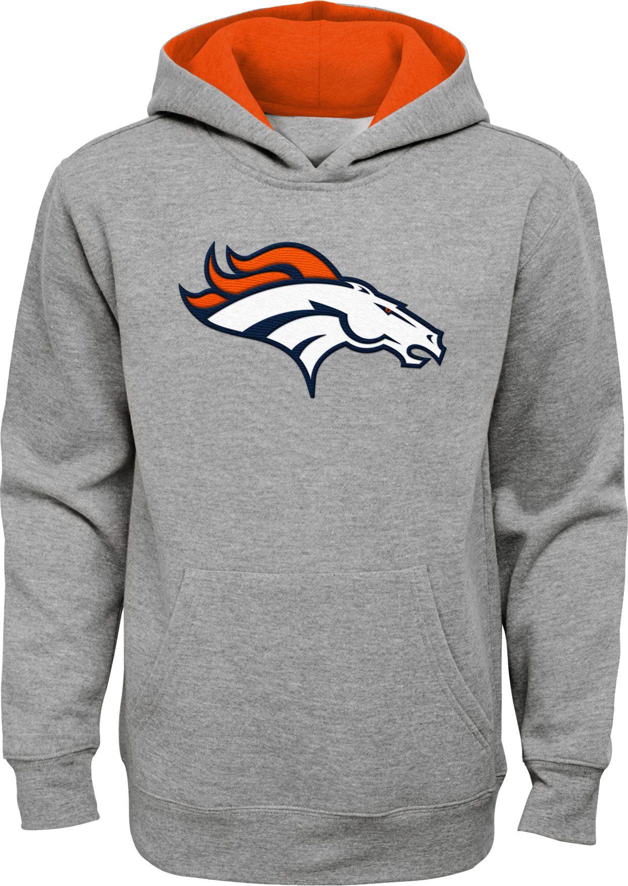 New NFL Team Apparel Youth Denver Broncos Prime Grey Pullover Hoodie