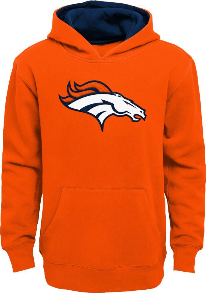 NFL Team Apparel Youth Denver Broncos Prime Orange Pullover Hoodie
