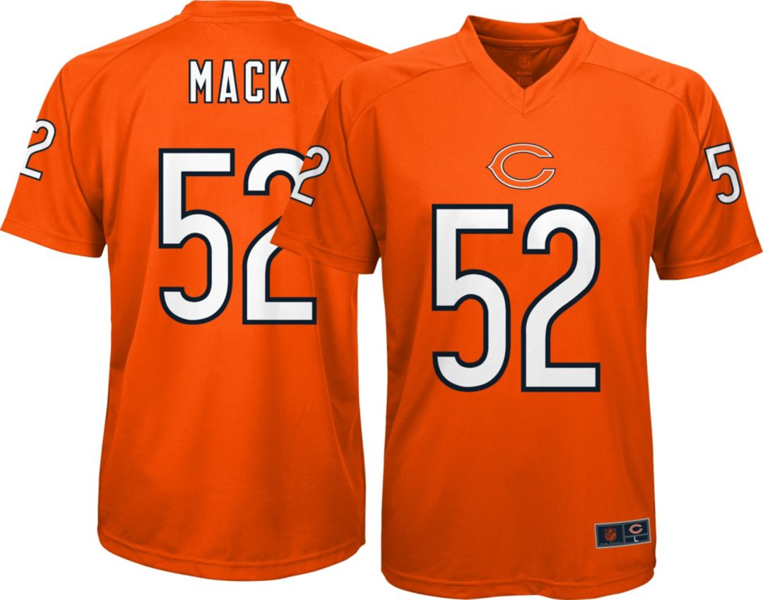 best service ad95b 42bfc NFL Team Apparel Youth Chicago Bears Khalil Mack #52 Orange Performance  T-Shirt