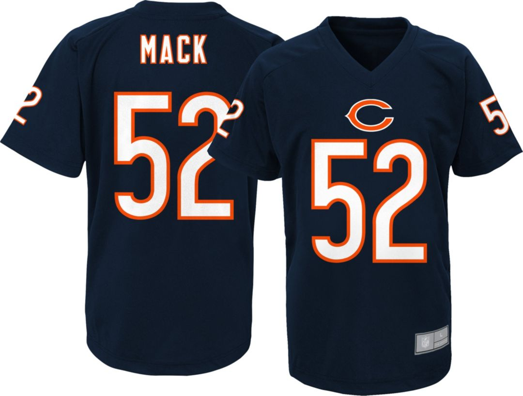 reputable site 89fbe afe9b NFL Team Apparel Youth Chicago Bears Khalil Mack #52 Navy Performance  T-Shirt