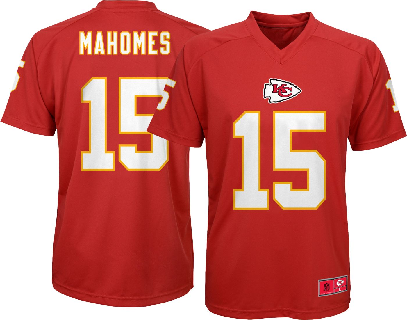 NFL Team Apparel Youth Kansas City Chiefs Patrick Mahomes #15 Red Performance T-Shirt
