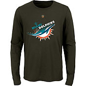 NFL Team Apparel Youth Miami Dolphins Flux Ultra Pewter Long Sleeve Shirt