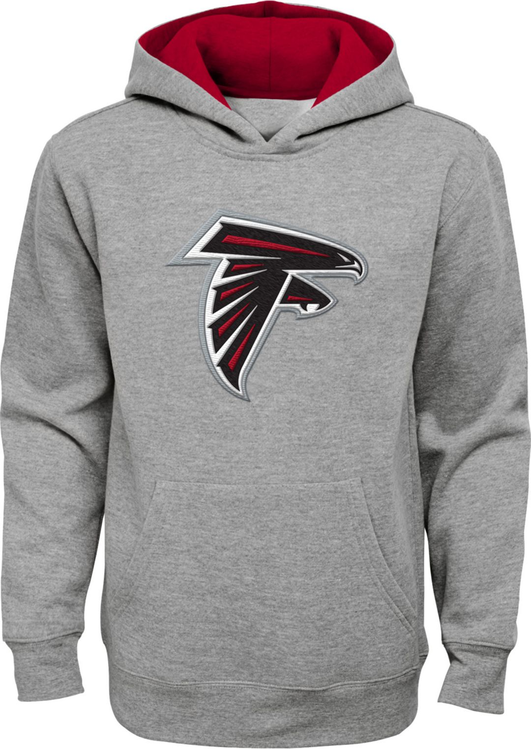 buy popular 2be0e ae701 NFL Team Apparel Youth Atlanta Falcons Prime Grey Pullover Hoodie