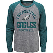 NFL Team Apparel Youth Philadelphia Eagles Gridiron Grey Long Sleeve Shirt